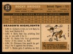 1960 Topps #22  Rocky Bridges  Back Thumbnail