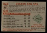 1956 Topps #111   Red Sox Team Back Thumbnail