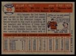 1957 Topps #60   Billy Hoeft Back Thumbnail