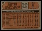 1972 Topps #23   Ted Kubiak Back Thumbnail
