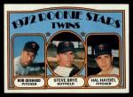 1972 Topps #28  Twins Rookies   -  Steve Brye / Bob Gebhard / Hal Haydel Front Thumbnail