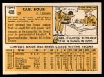 1963 Topps #428  Carl Boles  Back Thumbnail