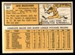 1963 Topps #341 *ERR* Jack Baldschun  Back Thumbnail
