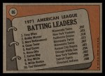 1972 Topps #86  191 AL Batting Leaders    -  Bobby Murcer / Tony Olivia / Merv Rettenmund Back Thumbnail