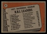 1972 Topps #87  NL RBI Leaders    -  Hank Aaron / Willie Stargell / Joe Torre Back Thumbnail