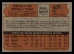 1972 Topps #134   Carl Morton Back Thumbnail
