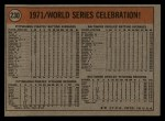 1972 Topps #230  1971 World Series - Summary - Pirates Celebrate Manny Sanguillen / Luke Walker / Gene Clines Back Thumbnail