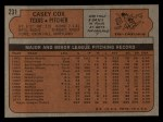 1972 Topps #231   Casey Cox Back Thumbnail