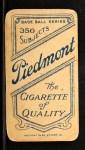 1909 T206 #14  Jake Atz  Back Thumbnail