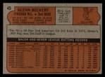 1972 Topps #45 COR Glenn Beckert  Back Thumbnail