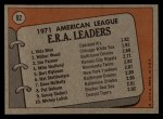 1972 Topps #92  AL ERA Leaders    -  Vida Blue / Jim Palmer / Wilbur Wood Back Thumbnail