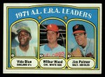1972 Topps #92  AL ERA Leaders    -  Vida Blue / Jim Palmer / Wilbur Wood Front Thumbnail