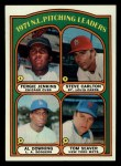 1972 Topps #93  NL Pitching Leaders    -  Steve Carlton / Al Downing / Fergie Jenkins / Tom Seaver Front Thumbnail
