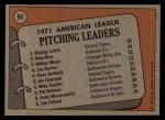 1972 Topps #94  1971 AL Pitching Leaders    -  Vida Blue / Mickey Lolich / Wilbur Wood Back Thumbnail
