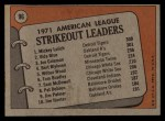 1972 Topps #96  1971 AL Strikeout Leaders    -  Vida Blue / Joe Coleman / Mickey Lolich Back Thumbnail