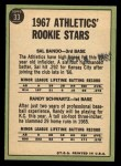 1967 Topps #33   Athletics Rookie Stars  -  Sal Bando / Randy Schwartz Back Thumbnail