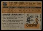 1960 Topps #477   Don Ferrarese Back Thumbnail