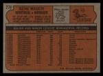 1972 Topps #276   Gene Mauch Back Thumbnail