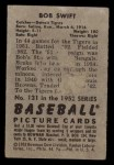 1952 Bowman #131  Bob Swift  Back Thumbnail