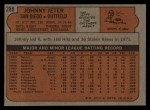 1972 Topps #288   Johnny Jeter Back Thumbnail
