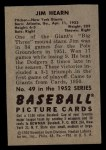 1952 Bowman #49   Jim Hearn Back Thumbnail