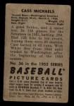 1952 Bowman #36   Cass Michaels Back Thumbnail