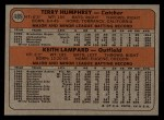 1972 Topps #489   Expos Rookie Stars    -  Terry Humphrey / Keith Lampard Back Thumbnail