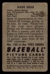 1952 Bowman #132  Dave Cole  Back Thumbnail