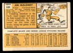 1963 Topps #444   Jim Maloney Back Thumbnail