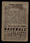 1952 Bowman #105   Bobby Brown Back Thumbnail