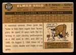 1960 Topps #237   Elmer Valo Back Thumbnail