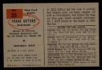 1954 Bowman #55   Frank Gifford Back Thumbnail