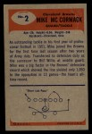 1955 Bowman #2  Mike McCormack  Back Thumbnail