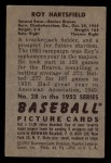 1952 Bowman #28   Roy Hartsfield Back Thumbnail