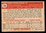 1952 Topps #146 ^COR^ Frank House  Back Thumbnail