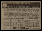 1952 Topps #6 BLK  Grady Hatton Back Thumbnail