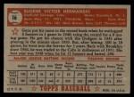1952 Topps #16 RED  Gene Hermanski Back Thumbnail