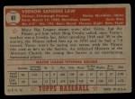 1952 Topps #81   Vern Law Back Thumbnail