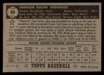 1952 Topps #80 BLK  Herm Wehmeier Back Thumbnail