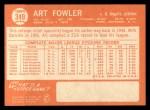 1964 Topps #349   Art Fowler Back Thumbnail