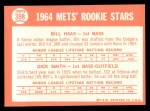 1964 Topps #398   Mets Rookie Stars  -  Bill Haas / Dick Smith Back Thumbnail
