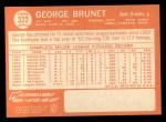 1964 Topps #322   George Brunet Back Thumbnail