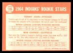 1964 Topps #146  Indians Rookies  -  Tommy John / Bob Chance Back Thumbnail