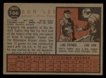 1962 Topps #166 GRN Don Lee  Back Thumbnail