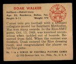 1950 Bowman #1   Doak Walker Back Thumbnail
