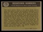 1961 Topps #173  Beantown Bombers  -  Jackie Jensen / Frank Malzone / Vic Wertz Back Thumbnail