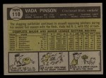 1961 Topps #110   Vada Pinson Back Thumbnail