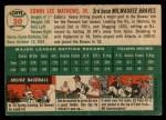 1954 Topps #30   Eddie Mathews Back Thumbnail