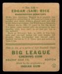1933 Goudey #134  Sam Rice  Back Thumbnail