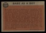 1962 Topps #135 GRN Babe as a Boy  -  Babe Ruth Back Thumbnail